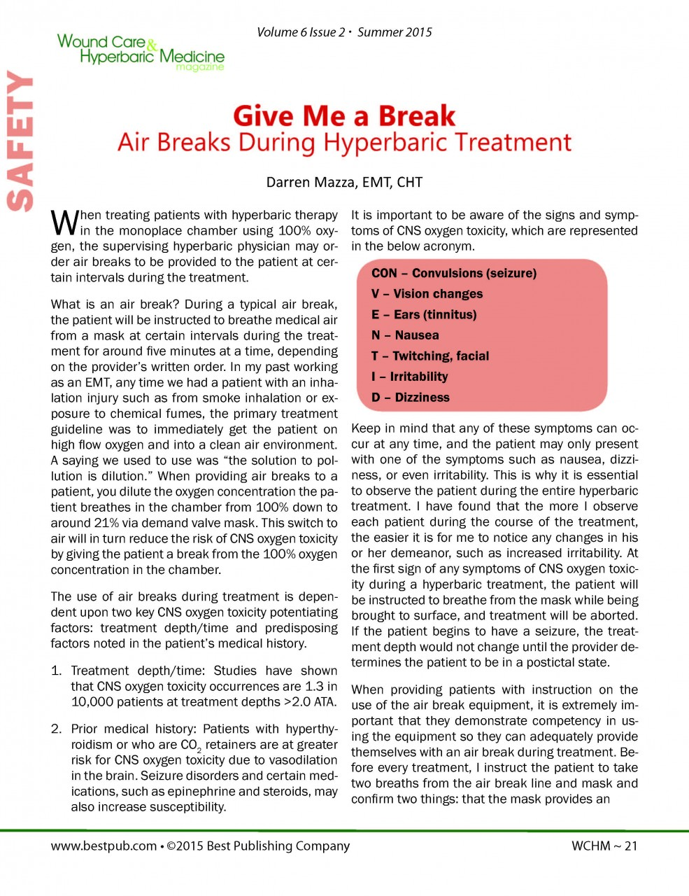 Air Breaks During Hyperbaric Treatment by Darren Mazza, EMT, CHT